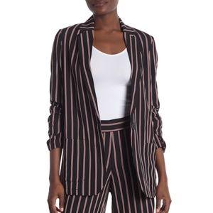 Max Studio Womens Striped Soft Notch Lapel Blazer